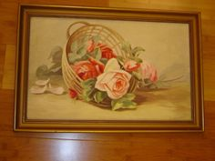 Hand painted oil painting on canvas board, probably from around 1900s. Pretty light pink and dark pink roses in a tan basket, green leaves. Signed by C. Krantz. Gold color painted wood frame. Cute pen sketches of cows on back. | eBay!