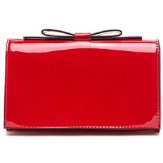 Ladies Night Bow Clutch RED ($20) ❤ liked on Polyvore featuring bags, handbags, clutches, red, red patent purse, structured handbag, imitation purses, pocket purse and red clutches