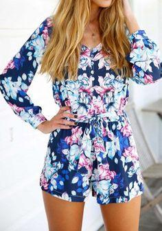 Blue Floral Sashes Elastic Waist Fashion Cotton Short Jumpsuit