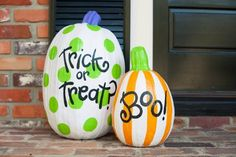 2015 Halloween painted pumpkins with polka dots and stripes - trick or treat, boo