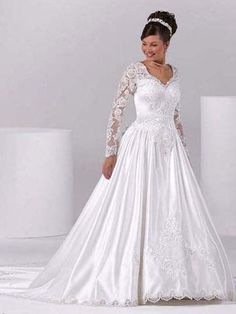 A-line V-neck Court Train Elastic Woven Satin White Wedding Dresses #USAwf0007