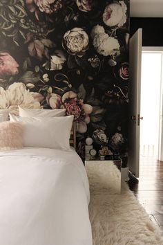 Dark Floral II Black Saturated XL Before And After: Dark Dramatic Floral  Wallpaper Makeover