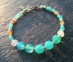 Ethiopian Welo Opal, Rainbow Moonstone, Aquamarine Jade, and Agate Stacking Bracelet by YellowMangoStudio