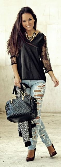 Black Contrast Lace Sleeve V-neck Top