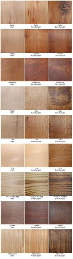 Pure vs Dark Tung Oil on several types of wood