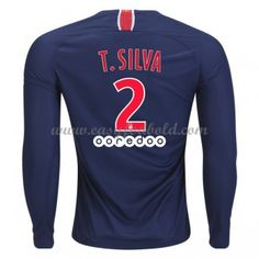 Fodboldtrøjer Ligue 1 Paris Saint Germain Psg 2018-19 Thiago Silva 2  Hjemmetrøje Langærmede 3ee6d1216b51e
