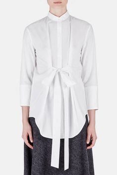 Tunic 07 Panel Tunic with Tie - White White Fashion, Unique Fashion, Mandarin Collar Shirt, Line Shopping, Oversized Shirt, White Shirts, Contemporary Fashion, Shirt Blouses, Beautiful Outfits