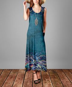 Love this Teal Floral Maxi Dress - Plus on #zulily! #zulilyfinds