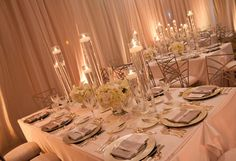 Table Design - Visionari  white and silver/grey, hydraingea, white orchids, simple, elegant, tall with floating candles
