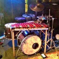 Ergonomic drumkit with bells / xylophone percussion alongside the cymbals, over the kick drum. RESEARCH  #DdO:) - https://www.pinterest.com/DianaDeeOsborne/drums-drumming-joy/ - DRUMS & DRUMMING JOY. C&C Custom Drums for the bass, & looks like it matches drumkit big tom in nice wood tone shell. C&C = a small, independent company based in Gladstone, Missouri. Pinned via rrrobo's SOUND AND FEELING #Pinterest board. Qualifies for #HUMOR #Music boards, too!