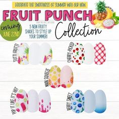 Fruit punch collection is now live. Mix up your summer mani with slme popsicles, watermelon, blueberries, pineapple, or citrus. Each set just $13 and always buy 3 get 1 free. #colorstreet #nails #nailart #summer #summernails #summerstyle #momlife Dry Nail Polish, Nail Polish Strips, New Fruit, Fruit Punch, Pretty Hands, Sweet Cherries, Red Gingham, Color Street Nails, Gorgeous Nails