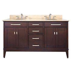 Madison 60 Inch Vanity Only In Light Espresso Finish Avanity Vanities Bathroom Vanities Ba