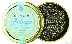 Farmed Sustainable #Beluga #Caviar - #KingsFineFood - The word Beluga epitomises the best. With a faint taste of walnuts, the sean holds in the delicate taste. Beluga Caviar has the largest egg and is historically the most expensive of all sturgeon.