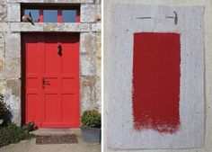 """this color: farrow + ball """"Blazer"""" high gloss on front door in France"""