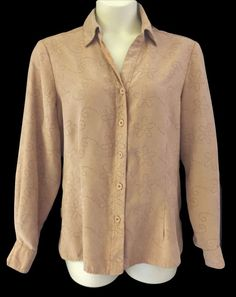 Womens 2x Button Down Shirt Tan  Microfiber Floral Eyelet Pattern #Notations #ButtonDownShirt #Casual