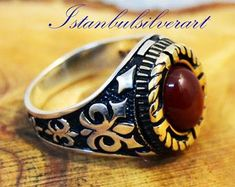 Etsy :: Your place to buy and sell all things handmade Gold And Silver Rings, Silver Man, Sterling Silver Rings, Jewelry Art, Jewelry Rings, Mens Ring Sizes, Red Agate, Agate Stone, Topaz Ring