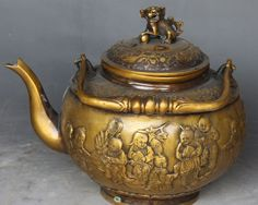 """Chinese Bronze Foo Fu Dog Lion Boy Girl Garr Water Wine Tea Pot Flagon"