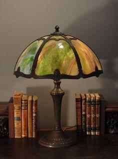 Signed Multi Color Slag Glass Panel Lamp.