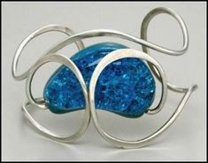 Elsa Freund (1912 - 2001) American Modernist Jewelry, turquoise glazed earthenware, 1963