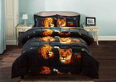 3 Piece Set Box Stitched Lion Pride Prints 3d Comforter Set Y15 Queen Size * ON SALE Check it Out