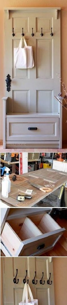 Small Entry Way Bench made from a door - like the drawer for out of sight storage.