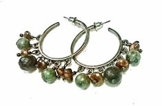 Hammered Copper Gemstone Hoop Earrings Faceted by MoodTherapy