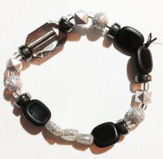 Black and silver sparkle handmade bracelet