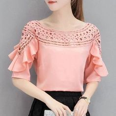 New Summer Lace Shirt Women Chiffon Blouse Hollow Out Off Shoulder Blusas Femme Slash Neck Ruffled Short Sleeve Plus Size Tops Blouse Styles, Blouse Designs, Sleeves Designs For Dresses, Plus Size Tops, Blouses For Women, Ideias Fashion, Fashion Outfits, Clothes, Long Sleeve