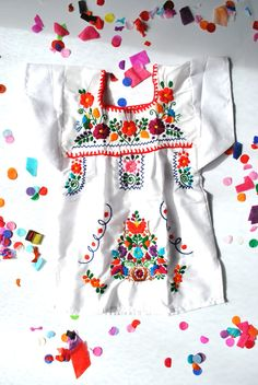 Bright White Mexican Infant Toddler Embroidered Dress From Kees & Me - http://www.facebook.com/keesandme