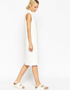 ASOS WHITE Sleeveless Funnel Neck Midi Dress