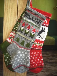 Hand knitted Christmas Stocking Deer by KnittingsWithSense on Etsy, $39.00