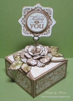 Gift Box designed by Marisa Jobs using Summer words,Fleuriste Newsprint Background Stamp, Shabby Music Background Stamp, Vintage Wallpaper Background Stamp, Heart Scroll Background Stamp,Friendship Blooms,JustRite  Nested Medallion Dies  with Spellbinders Rose Createions, Foilage and Square Petal Top Box