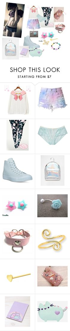 """-cries softly and sniffles-"" by sexy-roleplay20 ❤ liked on Polyvore featuring Cotton Candy, Heidi Klum Intimates, Converse, ASOS, Kevin Jewelers, Urbiana and Pusheen"
