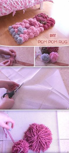Here's Squishy Prettiness for Your Home Disguised as a Colorful DIY Pom Pom Rug! Here's Squishy Prettiness for Your Home Disguised as a Colorful DIY Pom Pom Rug! Diy Crafts For Bedroom, Crafts For Girls, Diy For Kids, Diy And Crafts, Diy Bedroom, Trendy Bedroom, Decor Crafts, Modern Bedroom, Bedroom Furniture