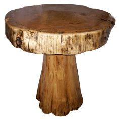 A Rustic Wood Pedestal Table That Could Be Used To Hold A Sink Bowl In A  Log Home Bathroom.