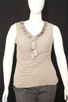 New Alfani Brown V-neck Sleeveless Embellished Knit Top Size XL