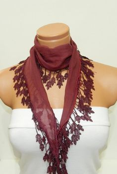 Personalized Design claret red Scarf Turkish by WomanStyleStore, $14.00
