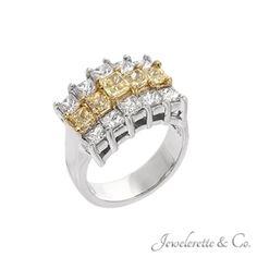 """Yellow Diamonds and White Diamonds """"Podium"""" Fine Jewelry Ring."""