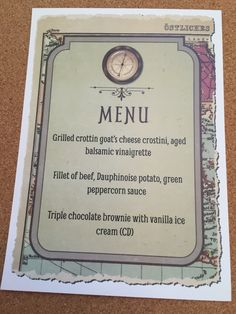 Travel inspired menu for your guests tables.