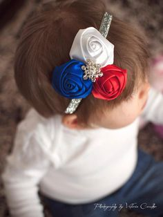 4th of July Trio - Red, White, and Blue Satin Rolled Rosettes on Silver Glitter Headband - Little Girls Hair Bow - Independence Day Hairbow