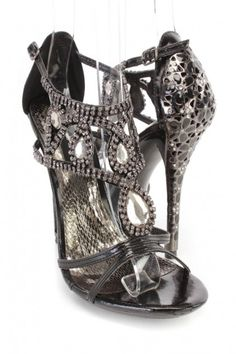 Black Rhinestone Single Sole High Heels Faux Leather