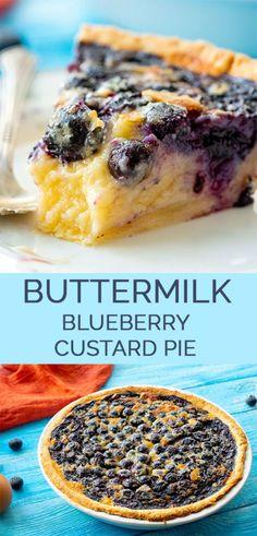 Buttermilk Blueberry Custard Pie – Bitchin Brunch Blueberry Buttermilk Custard Pie – This extra sweet buttermilk pie recipe is full of blueberries and creamy custard. Such an easy dessert! Custard Pies, Blueberry Custard Pie, Blueberry Pie Recipes, Buttermilk Recipes, Banana Recipes, Tart Recipes, Cooking Recipes, Buttermilk Pie, Custard Pie Recipe Easy
