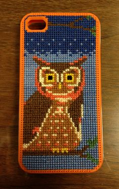 Owl cross stitch iphone case by inkyinky, via Flickr