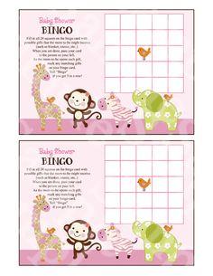 "Printable ""Jungle Jill/Girl Animals"" Baby Bingo Cards Instant Digital Download"