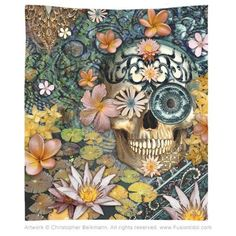 Bali Botaniskull Tapestry - Fusion Idol - Art and Gifts by Artist Christopher Beikmann