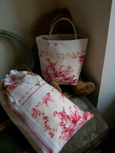 Drawstring red toile, linen
