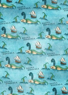 dverissimo whale fish monster legendary myth drawing traditional digital blue sea ocean map old ancient sailing boat ship caravels discovery explore balena horrenda pattern