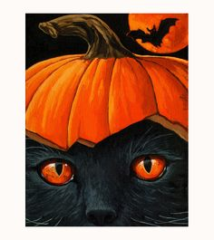 BLACK CAT & BAT - Halloween black cat pumpkin print from original oil painting.
