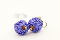 Lilac purple thistle polymer clay round flower earrings