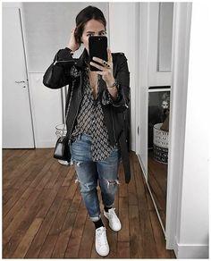 """La tenue typique que je ne peux porter que mes jours de repos et pourtant que j'adore : un boyfriend troué avec une jolie chemise! D'ailleurs pour celles qui me le demandaient, cette chemise est le modèle Pierro, et, pour celles qui ne la trouvaient pas sur le site, la chemise blanche en soie Sezane que je portais la semaine dernière semble revenir demain, je l'ai vue sur le lookbook (modele Cuzco).• Leather jacket #hironaeparis (from @hironaeparis)• Skirt """"Pierro Arlequin&q..."""